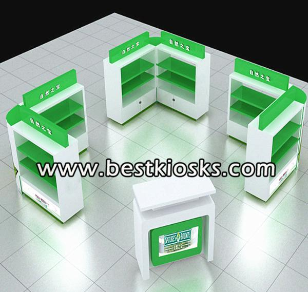 MDF baking paint mall retail kiosk for display products