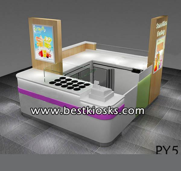Indoor fresh fruit bar design retail snow white juice drink bar kiosk