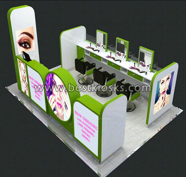 4*3m mall hair salon kiosk with chairs