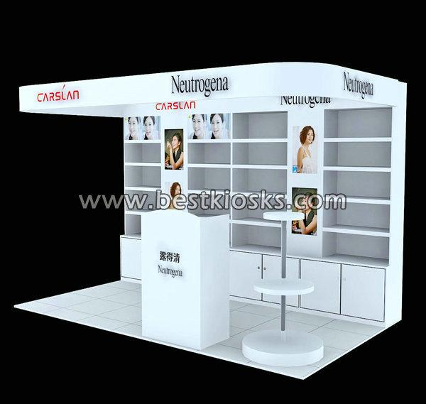 Wooden wall display cabinet cosmetic kiosk for sale