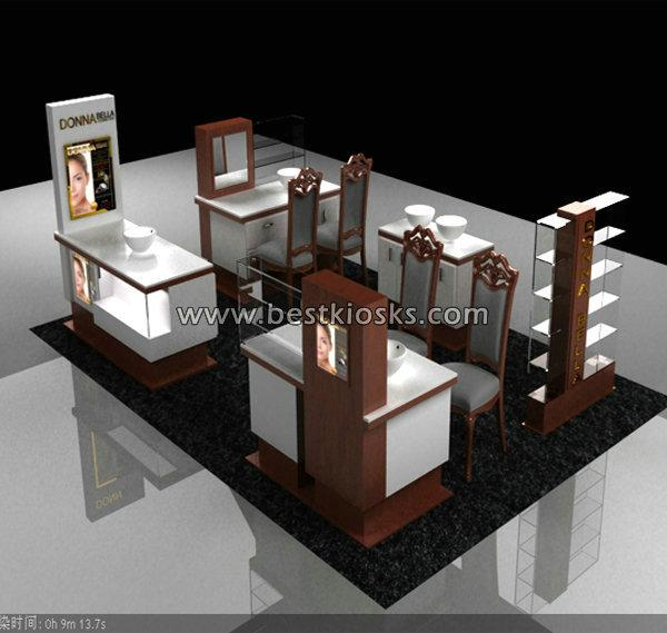 Shopping mall cosmetic kiosk design for make up