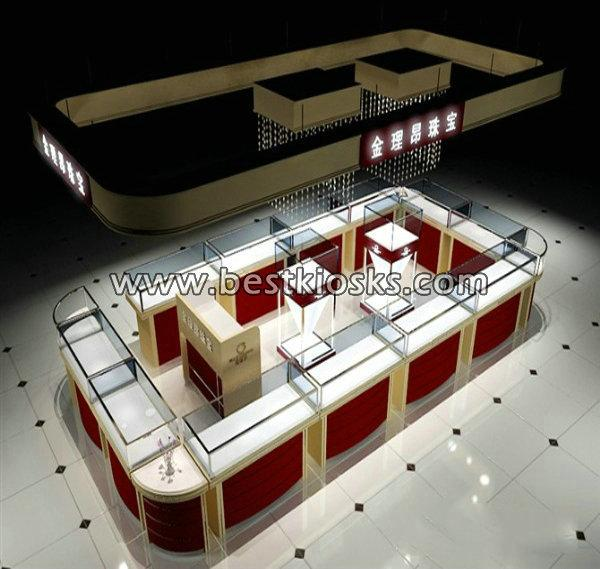 Outstanding island jewelry kiosk design for shopping mall