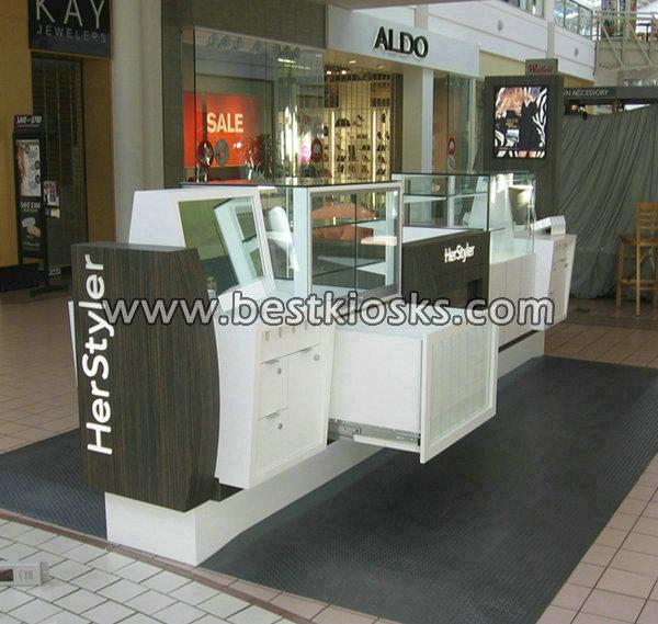 hair straight kiosk with cosmetic display showcase