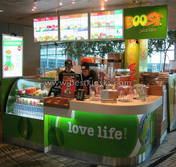 China sales boost juice bar kiosk for shopping mall