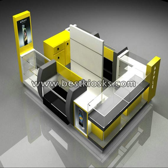 Yellow color mobile phone kiosk for cell phone displays