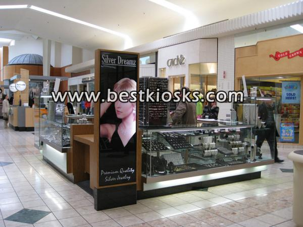 Glass material jewelry showcase for mall kioskds design