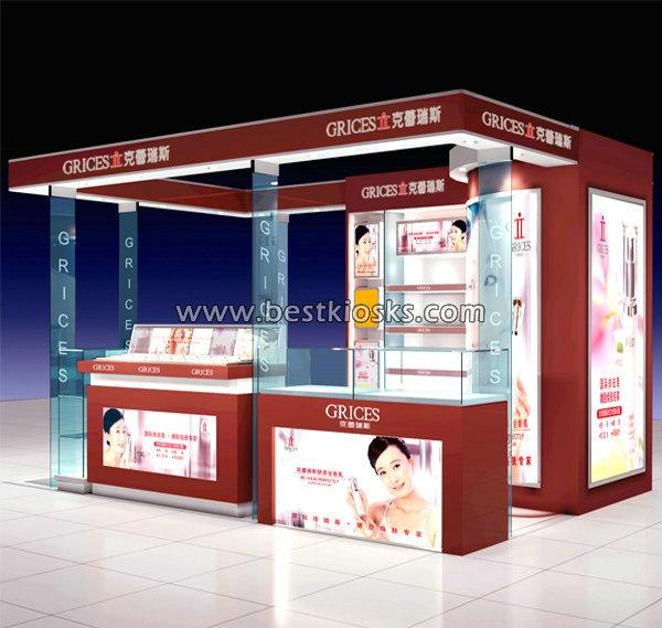Beautiful cosmetic shop interior design cosmetic kiosk for mall display