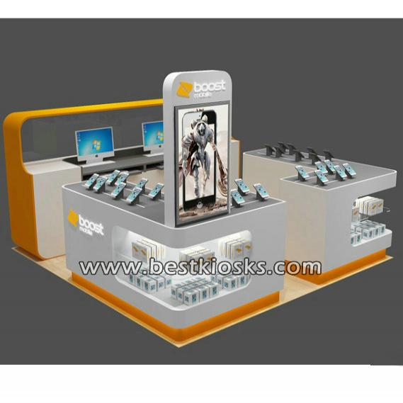 Cell phone charging kiosk, cell phone display counter for mall