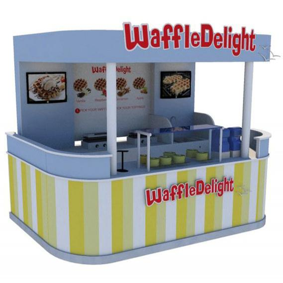 Shopping waffles kiosk with ceiling for sale