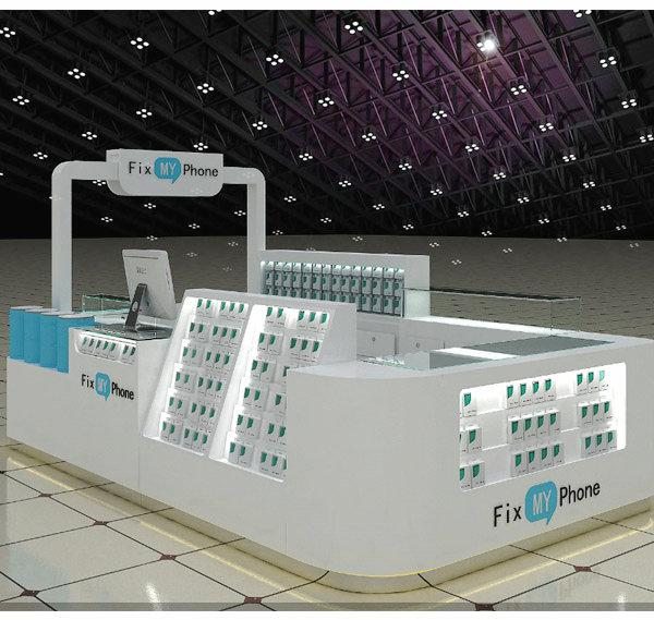 White retail shopping mall cell phone accessories kiosk with repair counter