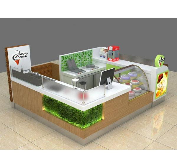 Newest drink food kiosk design bubble tea kiosk for mall