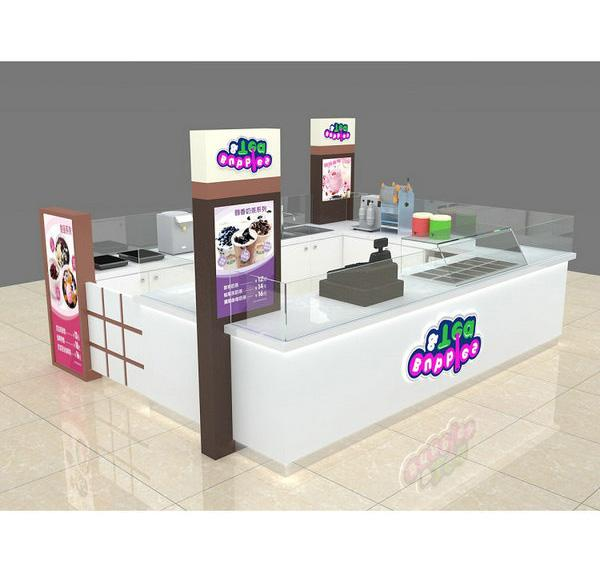 White color mall approved design frozen yogurt bubble tea kiosk
