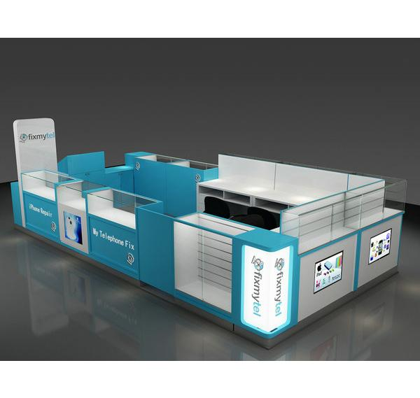 Exquisite shopping mall cellphone repair kiosk for phone accessories