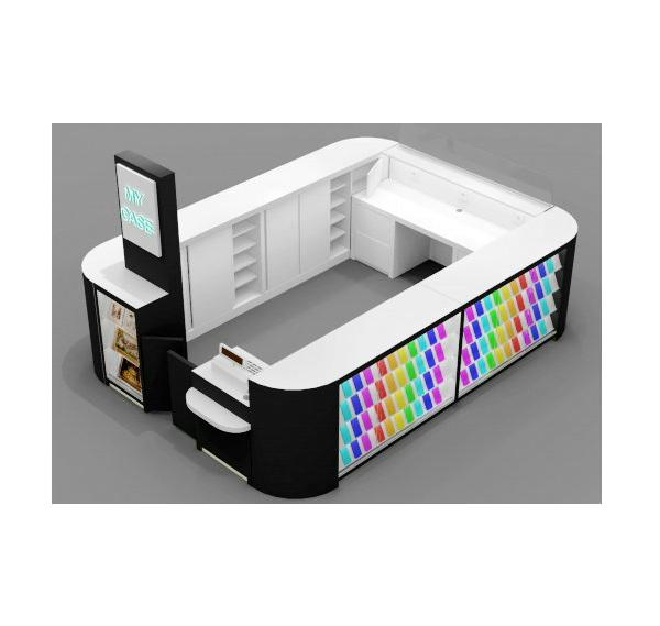 Retail mall cell phone case display kiosk for phone repair service