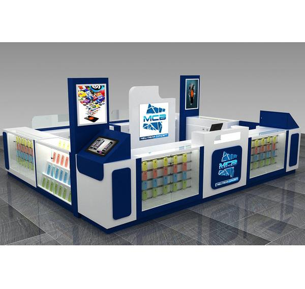 China hot sell cell phone accessories kiosk with glass showcase display