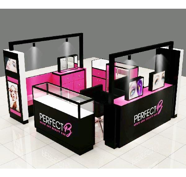 Mall luxury beauty salon furniture eyebrow threading kiosk for sale