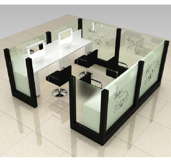 Factory price customized hair cut kiosk eyebrow threading kiosk for mall