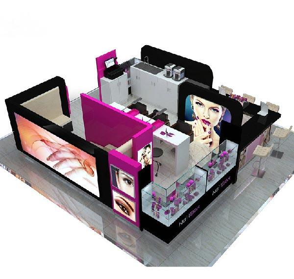 Shopping mall eyebrow kiosk nail bar for beauty salon service kiosk