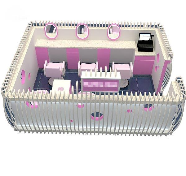 Factory price three seats white nail kiosk eyebrow kiosk for sale