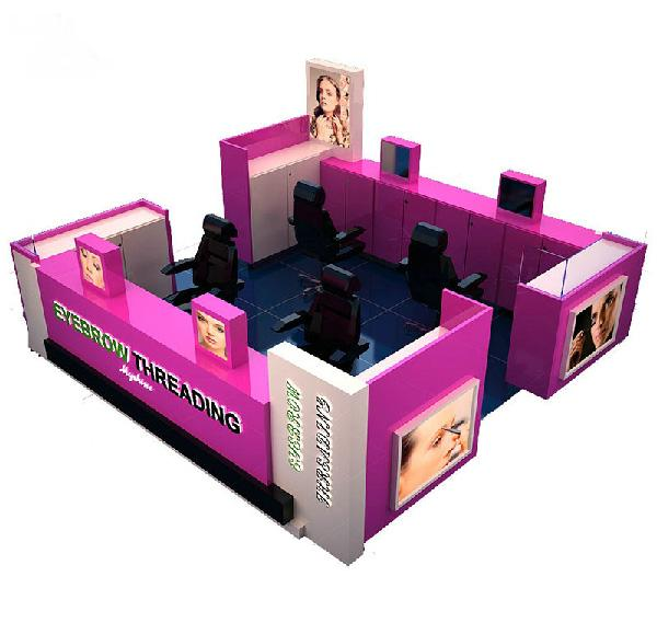 Custom made retail mall eyebrow bar kiosk for beauty salon business