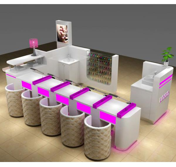 Hot sale nail kiosk manicure bar counter for beauty salon shop