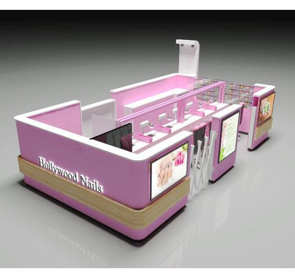 Luxury pink beauty salon shop nail bar kiosk for retail beauty store