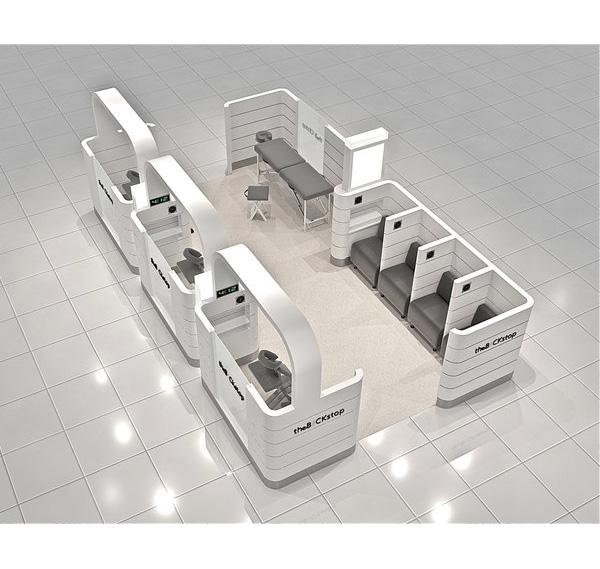 Modern shopping mall teeth whitening kiosk with privacy room