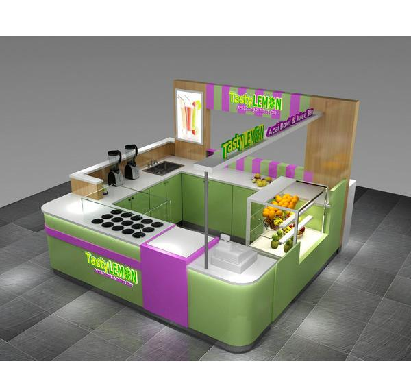 Modern fresh juice bar kiosk beverage bubble tea kiosk for sale
