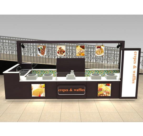 Hot sale crepe food Bar Coffee Kiosk Waffle Kiosk for shopping mall