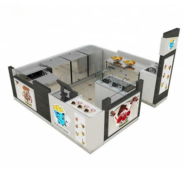 Attractive style white mall roll ice cream kiosk crepes kiosk