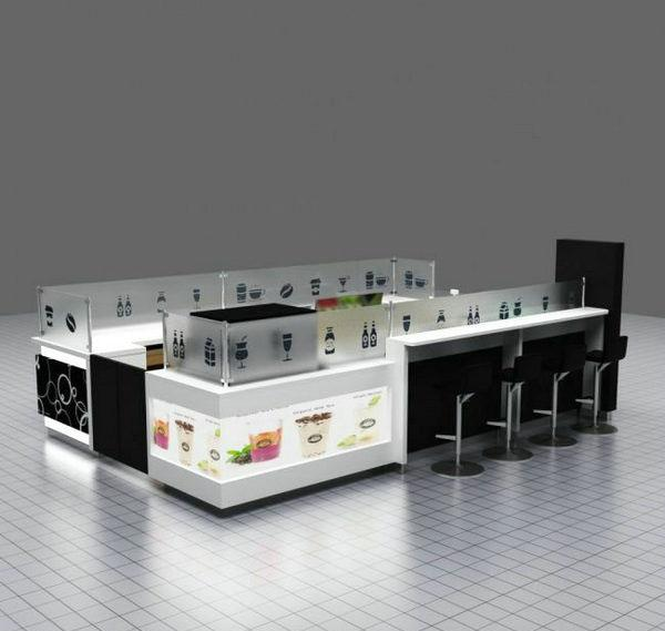 New exquisite shopping mall juice bar bubble tea kiosk for sale