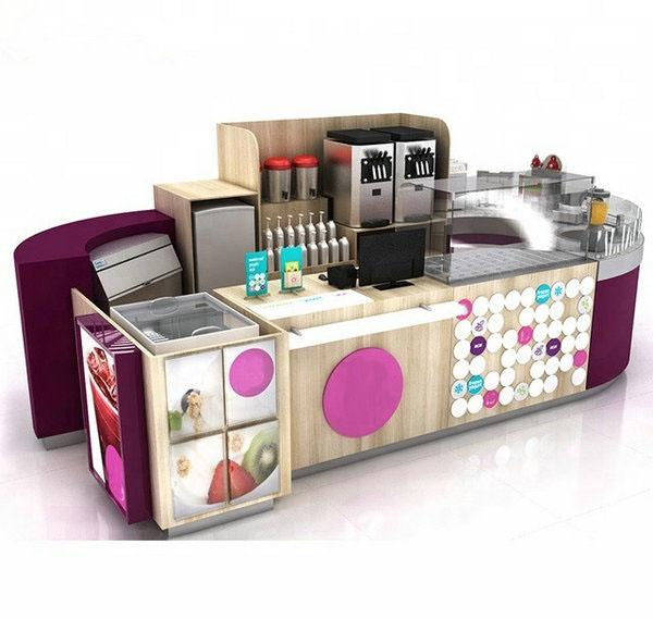 Retail mall approved food juice bar smoothies kiosk for sale