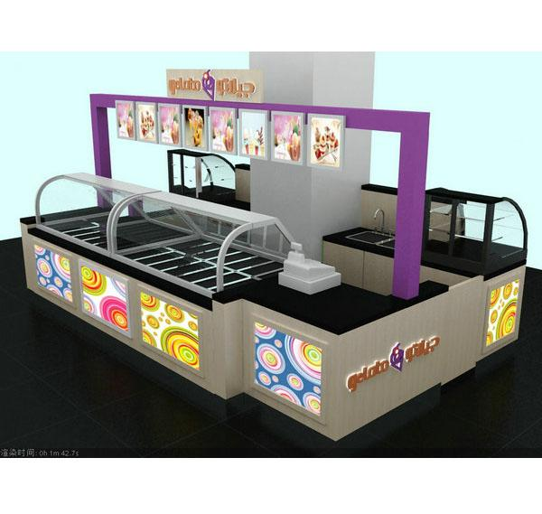 Customized 4 by 3m gelato kiosk ice cream roll kiosk for sale