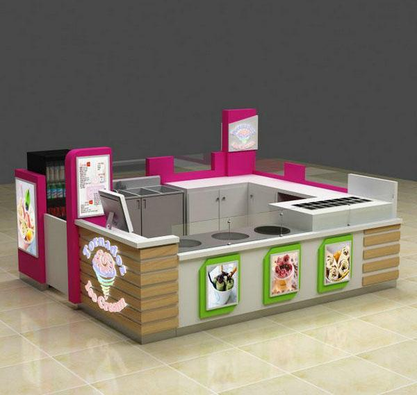 High quality food kiosk gelato fried ice cream roll kiosk for mall