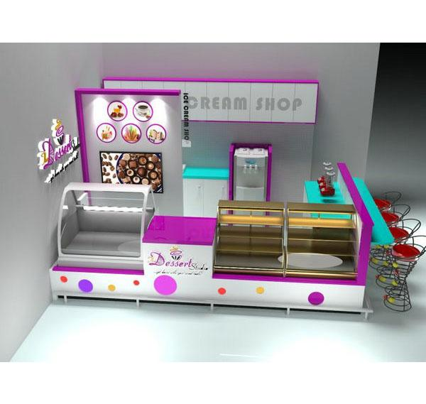 Fashion sweet shopping mall ice cream shop dessert kiosk for sale