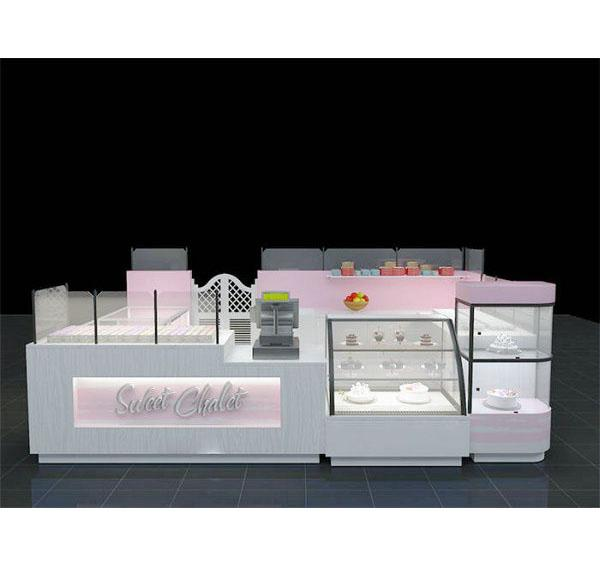 Pink sweet food dessert kiosk cake ice cream roll kiosk for mall