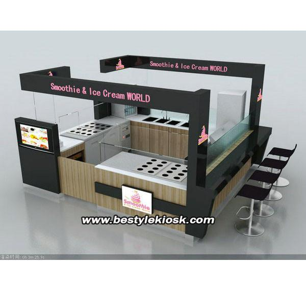 Custom make food kiosk smoothies kiosk roll ice cream kiosk for sale