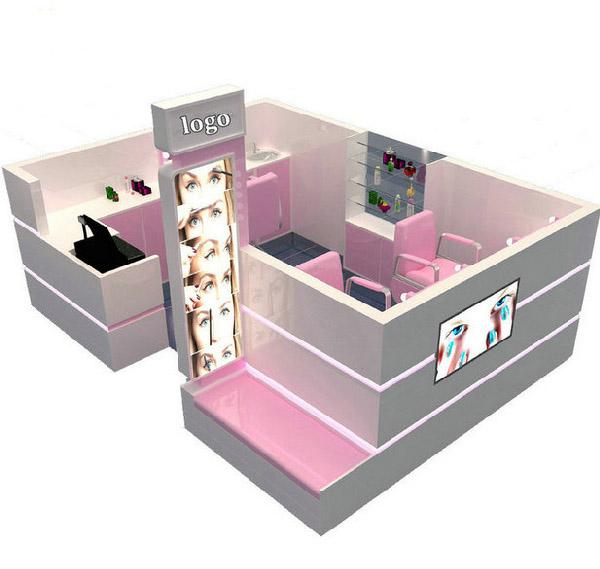 Pink salon shop eyebrow threading kiosk nail kiosk in shopping mall