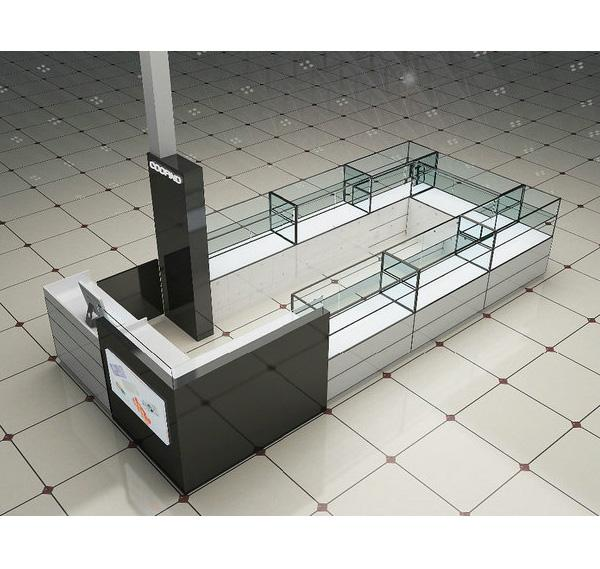 Classical design mall glass cell phone accessories kiosk for sale