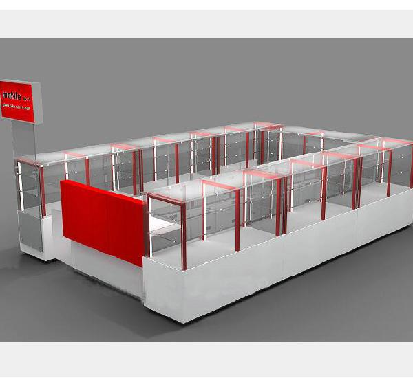 Glass mall cell phone kiosk phone accessories kiosk for store