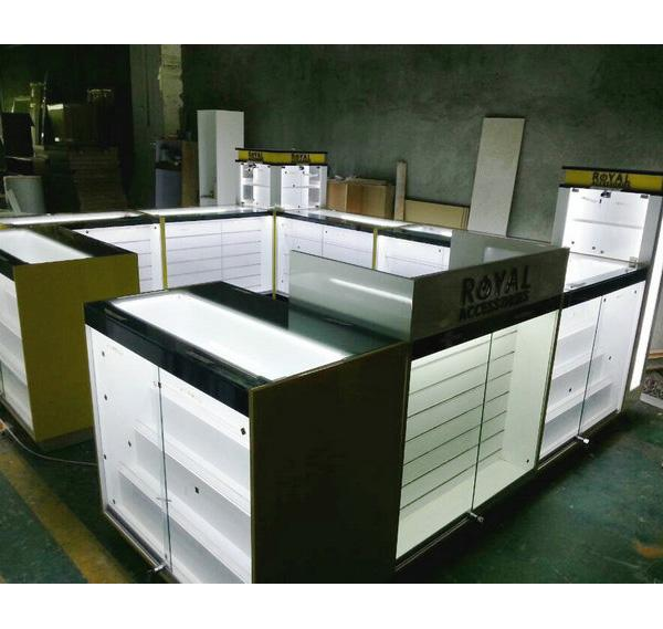 High quality mobile phone accessories kiosk with repair counter for mall