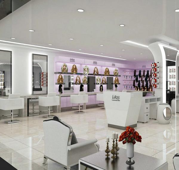 Wooden beauty hair styling store furniture salon nail shop design