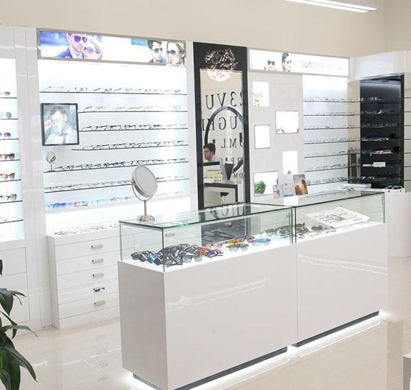 Fashion optical shop furniture design bespoke optical store interior counter