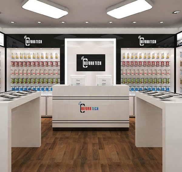 Smart phone interior store mobile cell phone store display counter design