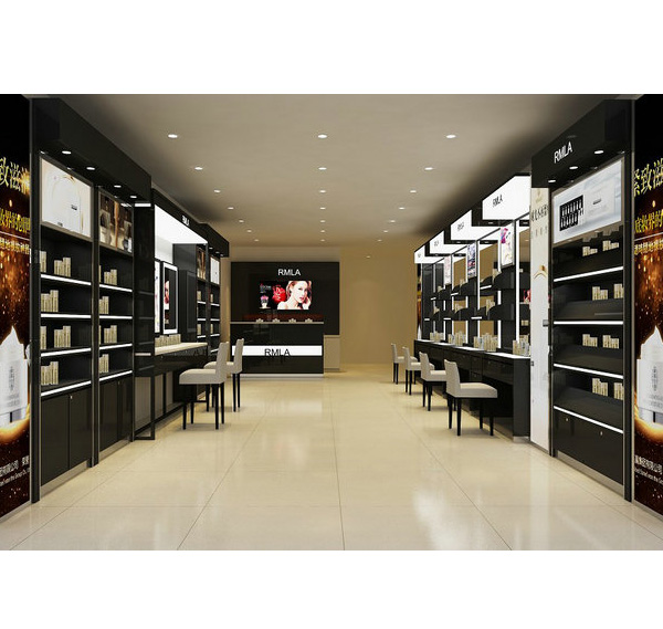 Luxury black wall display cabinet for cosmetic shop interior design