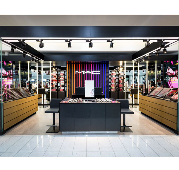 China cheap price cosmetic shop display showcase makeup store interior design
