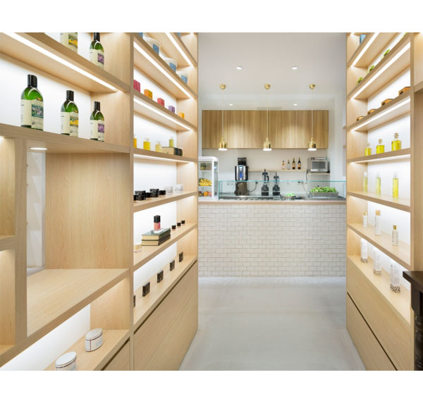Wooden display cabinet perfume interior shop decoration for cosmetic store