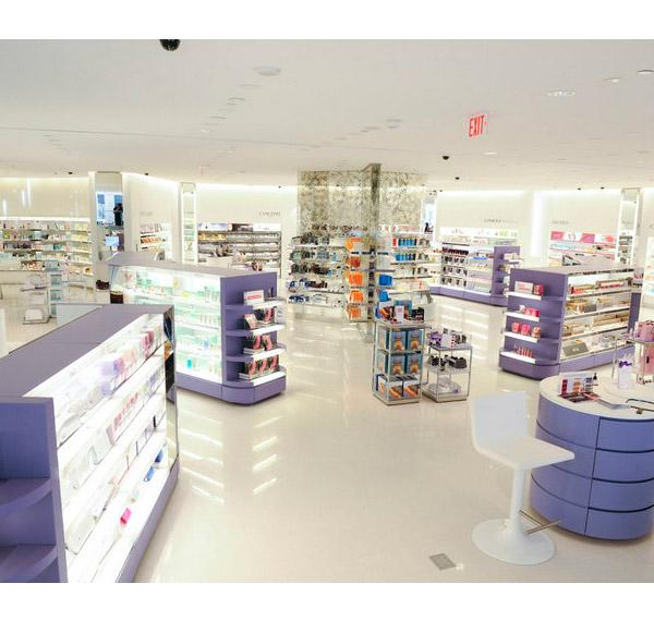 Modern Makeup Store Layout Design Cosmetic Display Cabinet Counter